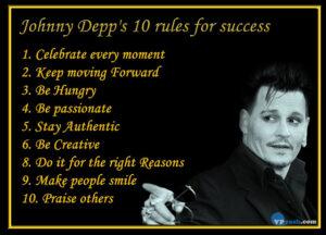 Johnny Depp's 10 rules for success – Inspiring