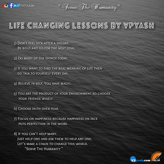 Read more about the article LIFE CHANGING LESSONS BY VPYASH