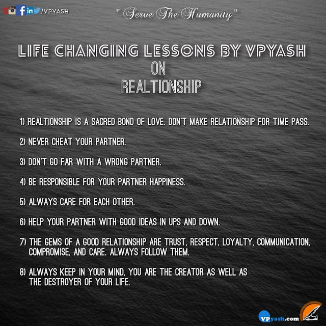 """LIFE CHANGING LESSONS BY VPYASH on """"RELATIONSHIP"""""""
